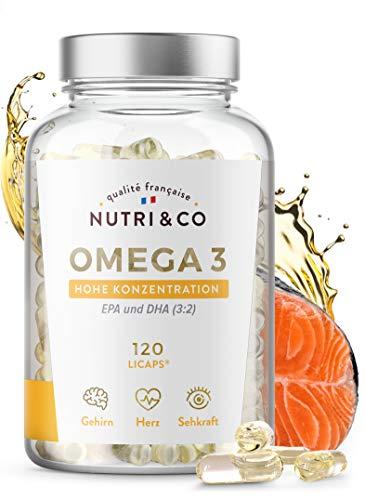 Omega 3 Fischöl Kapseln 2000mg | Fish Oil Konzentriert Ultra Pur | 120 Kapseln | Omega-Fettsäuren EPA DHA und Vitamin E | Licaps® Höchste Reinheit | Nachhaltiger Fischfang | Laborgeprüft | Nutri&Co