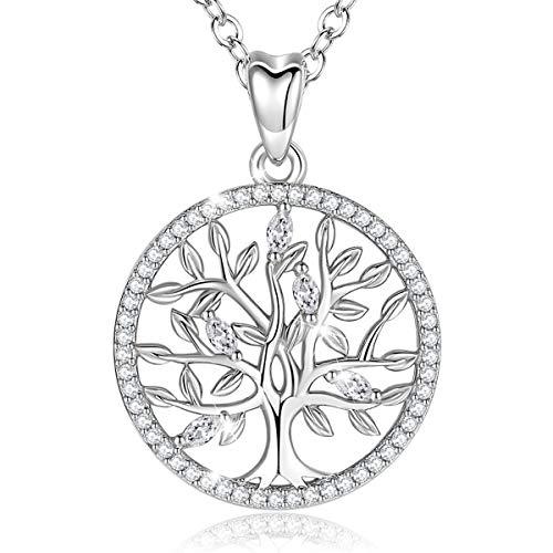 Lebensbaum Kette EUDORA Baum des Lebens Kette S925 Sterling Silber Schmuck Halsketten für Frauen, Bestes Geschenk für Damen Tochter Liebhaber Schwester, 45,7 cm Kette