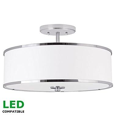 Kira Home Chloe 15  Modern Ceiling Light Semi Flush Mount + White Drum Shade, 3-Light, LED Compatible, Tempered Glass Diffuser, Chrome Trim Finish