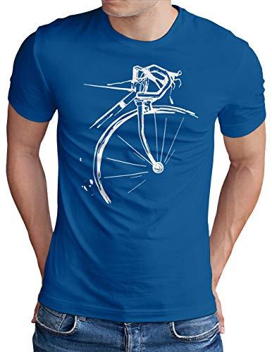 OM3® Bicycle Fahrrad T-Shirt | Herren | Vintage Radsport Radfahrer | Royal Blau, L