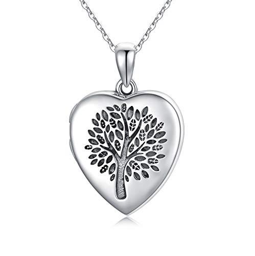 Collares Foto de plata de ley 925 Medallón Forma Corazón para Mujer, Collar Medallón de árbol de la vida Colgante de Guardapelo Personalizado Regalo cumpleaños Aniversarios Colgante Locket para Niñas