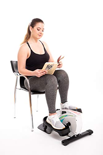 Under Desk Elliptical Exercise Trainer - Premium Compact Elliptical for Home or Office -Desk Stepper with Adjustable Resistance - Includes 3 Resistance Bands