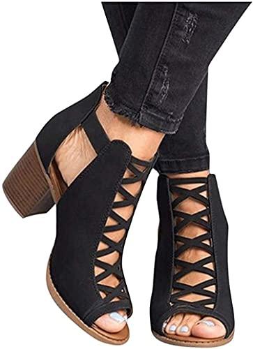 Dames knipsel sandalen, retro dikke uitgezet hoge hakken enkellaarsjes gekooide gladiator strappy jurk sandalen schoenen