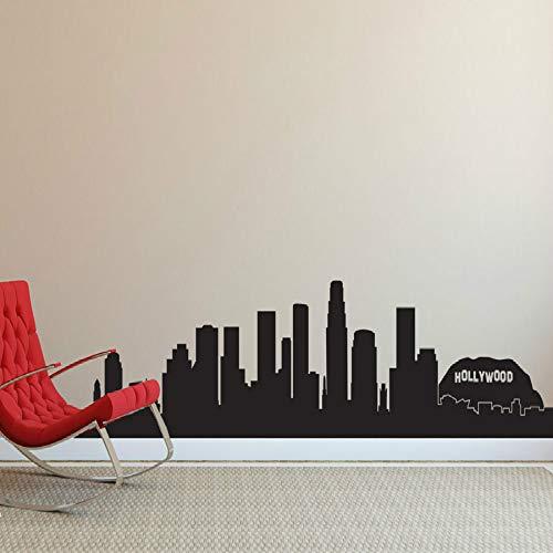 SLQUIET DIY skyline silhouette wandtattoo wohnzimmer dekoration dekoration vinyl wandaufkleber innenwand wandaufkleber Schwarz 84x21 cm