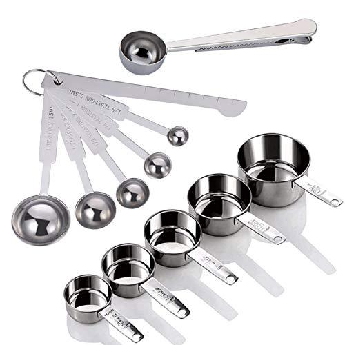 Yuning Edelstahl Messbecher und Löffel mit Messlineal, Scoop mit Clip,Küche Umrechnungstabelle Set von 12er-Set, für Trockene und Flüssige Zutaten