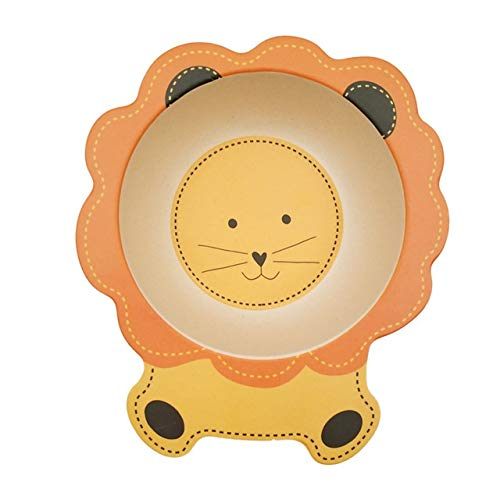 Children's plate Kids Natural Bamboo Fiber Bowls Cute Cartoon Animal Dishes Baby Feeding Tableware Children Infant Toddler Portable Plates (Color : Lion)