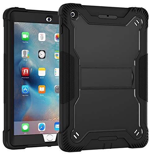 Lamcase for iPad 2 Case, iPad 3 Case, iPad 4 Case, Built with Kickstand, Heavy Duty Rubber Hybrid High Impact Drop Rugged Shockproof Full Body Protective Case for iPad 4th/3rd/2nd Generation , Black