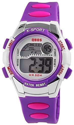 Qbos Reloj de pulsera digital para mujer, color morado + caja de cuarzo, silicona, reloj infantil, alarma, luz, cronómetro, fecha, reloj de pulsera
