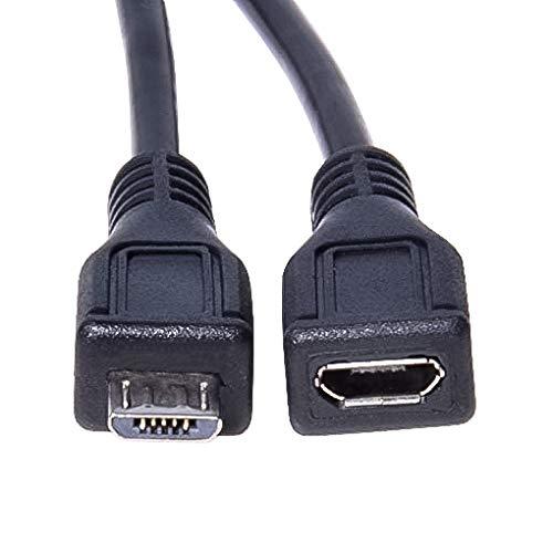 PremiumCord Micro USB Verlängerungskabel 2m, USB Micro B Buchse auf Micro B Stecker, USB 2.0 High Speed Datenkabel, 2x geschirmt, AWG28, Farbe schwarz, Länge 2m