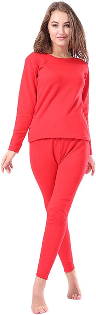 Xdodnev Winter Faux Fleece Lined Thermal Underwear Set Pullover Warm Base Layer Pajamas