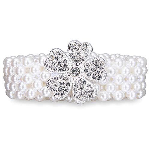 Dubulle Elastic Pear Belt for Women Girl's Flower Style Belts Chain Crystal Sashes Wedding Bridal Belt Sexy Bridesmaid Dress Girl Waist