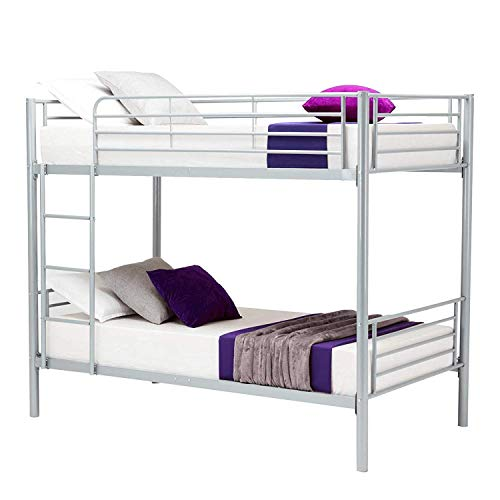 JOYBASE Metal Bunk Bed Twin Over Twin - with Removable Ladder and Guard Rail - Space Saving Design, Grey