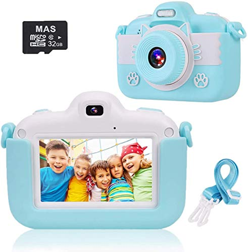 Kinder Kamera Hochauflösende Video Digitalkamera, Intelligenter 3 Zoll IPS Touchscreen / 1080P / USB / 32 GB TF Karte / Zoom Selfie Kamera mit Zwei Objektiven, Gaming Multifunktionskamera (Blau)