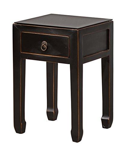 """Chinesischer Beistelltisch """"Yunnan"""" Handarbeit, schwarz lackiert, mit Schublade, Used Look, verwendbar auch als Lampentisch oder Nachttisch"""