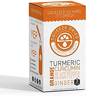 Squeeze Dried Orange Turmeric Curcumin with Ginger & Black Pepper | Anti Inflammatory, Antioxidant Rich to Relieve Joint Pain, Boost Immunity and Support Anti Aging - 30 Sticks