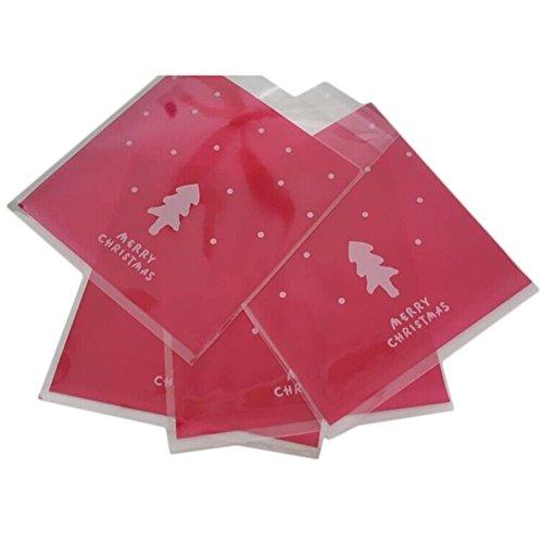 Demarkt Transparante verpakking zak zelfklevende zakken plastic snoepgoed tas voor chocolade cookie koekjes kerstboom patroon 100 stuks groen
