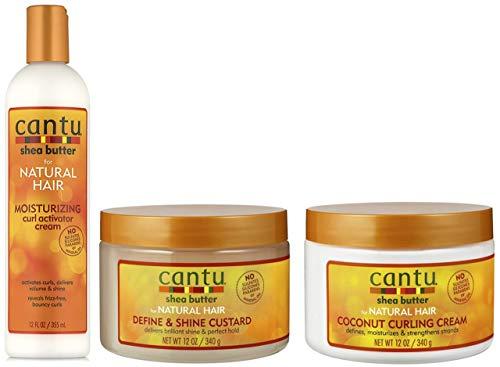 Cantu Shea Butter feuchtigkeitsspendende Curl Activator Creme 355ml mit Define & Shine Custard 340g & Coconut Curling Cream 340g