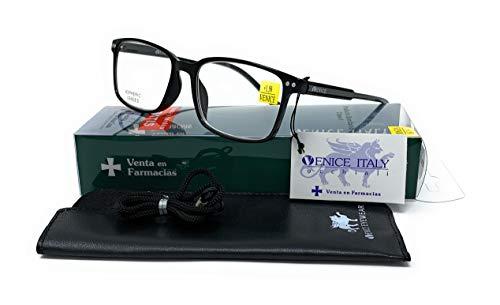 Gafas ver de cerca, lectura para hombre- Venice Manager Dioptría (1-1,50-2 - 2,50-3 - 3,50) (Negro, 2,00)