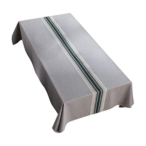 Theoylos Stitching Tablecloth Cotton Linen Rectangle Table Cloth Fabric Dust-Proof Table Cover for Kitchen Dinning Blue