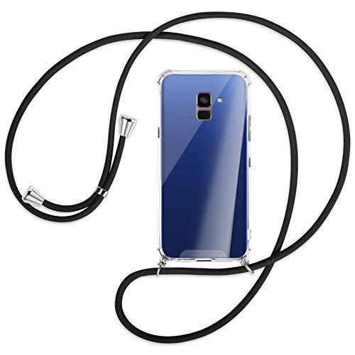 mtb more energy® Handykette kompatibel mit Samsung Galaxy A8 2018 (SM-A530, 5.6'') - schwarz - Smartphone Hülle zum Umhängen - Anti Shock Strong TPU Case