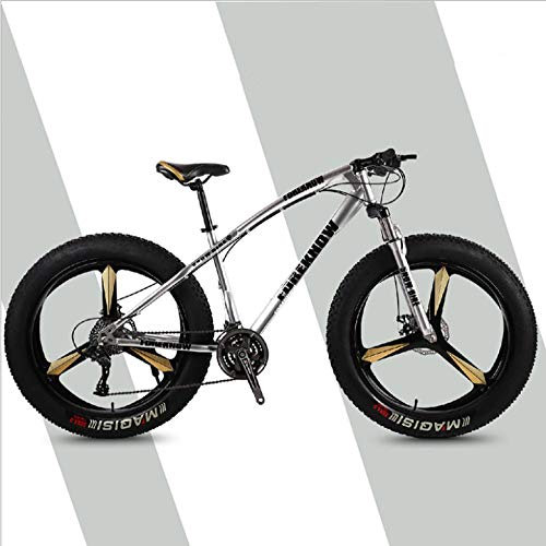 DGAGD 26 inch Variable Speed Off-Road Beach Snowmobile Super Wide tire Mountain Bike Three-Knife Wheel-Silver_21 Speed