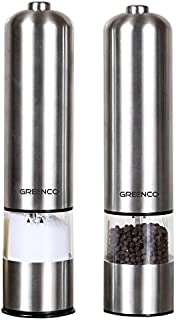 Greenco GRC0211 2-Pack Automatic Electric Pepper Mill and Salt Grinder, Stainless Steel