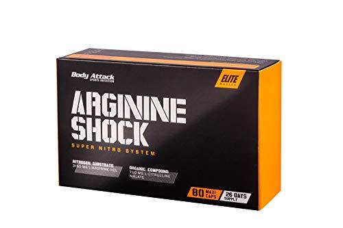 Body Attack Arginine Shock 80 hochdosierte Maxi Caps - 3150 mg L-Arginin Hydrochlorid und 750 mg L-Citrullin Malat je Portion, für verbesserten Blutfluss und maximalen Pump, Aminos - Made in Germany