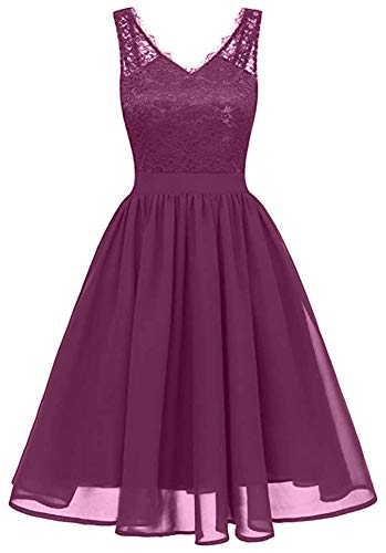 Snow Lotus Damen V-Ausschnitt Kurz Brautjungfernkleid A Linie Ärmellos Party Cocktailkleid Gr. 36, rotviolett