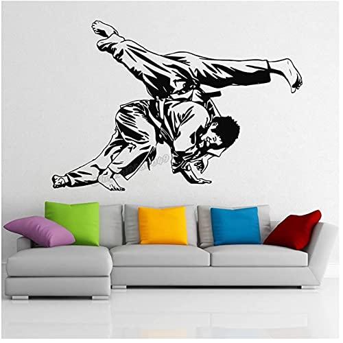WYLYSD Judo Wandtattoo Judo Sport Wandaufkleber Gym Wanddekoration Wasserdicht Home Schlafzimmer Decoraion Art Decal 84X57Cm