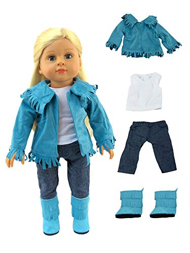 American Fashion World Teal Fringe Western Outfit Made for 18 inch Dolls Such as American Girl Dolls