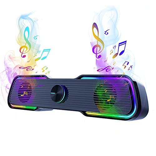 Bocinas pc, bocina Inteligente,Altavoces RGB para Juegos sistema de audio, Altavoces estéreo de Alta fidelidad y conexión Auxiliar de 3,5 mm, Barra de Sonido estéreo de Doble Canal con Cable, Plug and Play