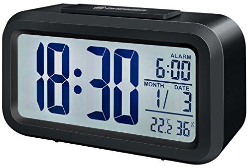 Bresser Wecker MyTime Duo mit LCD Display, Uhrzeit, Datum, Temperatur und Luftfeuchtigkeitsanzeige und zwei Weckzeiten, schwarz