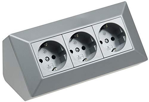 3-voudige tafel hoekstopcontact 230 V 45 ° hoek voorbedraad voor keuken en werkplaats zilver