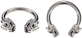 septum tragus cartilage Pair of Dragon head Captive bead lip nipple hoop Ring belly