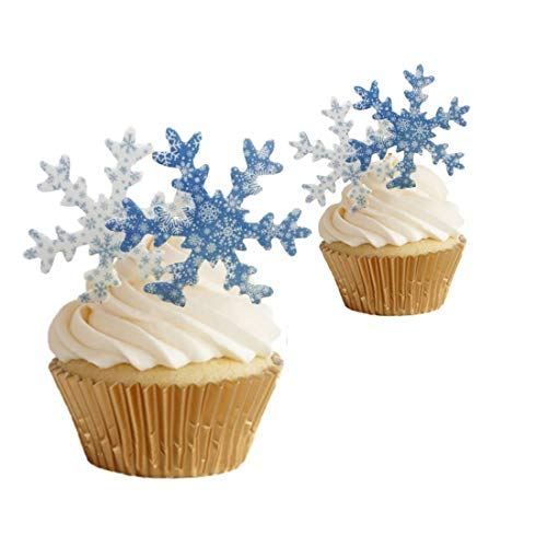 GEORLD 36Pcs Edible Cake Topper Wafer Snowflakes Cupcake Toppers Frozen Decoration