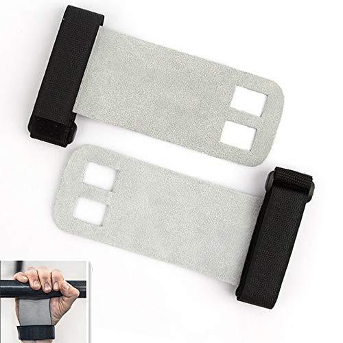 SXXYTCWL Deux Trous Haltérophilie Gants de Protection Palm Gymnastic Gants de Protection Équipement de Protection, Taille: S (Blanc Gris) (Couleur: Noir) jianyou (Color : White Gray)