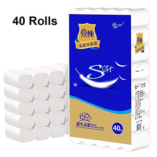 Bxwjg Huishoudelijke Roll Papier Wit 4 Lagen Toiletpapier Handdoek Lege Kern Zachte Weefsel 40 Rollen, zachte En Hoge Absorptie