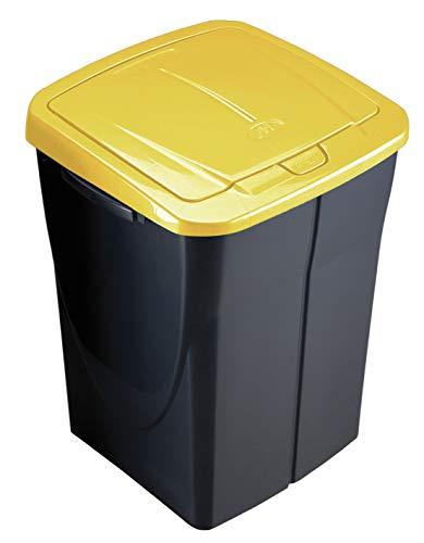 M Home Cubo 45 L ECOBIN con Tapa de Color Amarillo 36,5x36x51 cm, Mediano