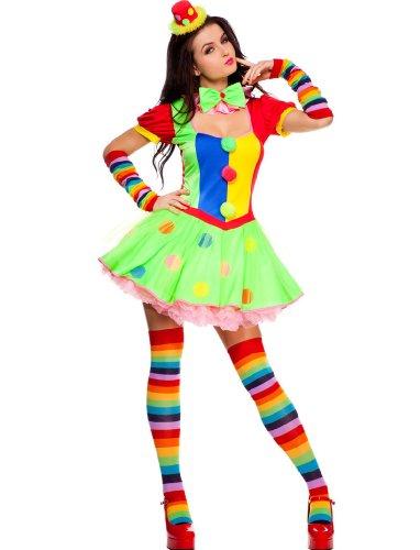 4 PC. Ladies Big Top Babe Clown Dress Costume (1XL/2XL)