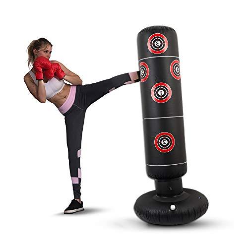 Ghopy Boxsack Erwachsene Standboxsäcke Trainingsgeräte Heavy Duty Freistehender Boxpartner Boxing Trainer Aufblasbar Stehend