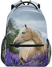 HaJie ryggsäck vilda djur lavendel blomma häst djur resa dagväska stor kapacitet ryggsäck vardaglig skola bokväska axelremmar dator bärbar dator väska för kvinnor män tonårsflickor pojkar