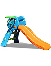 Ubays 2-in-1 Foldable kids slide with basketball hoop for outdoor and indoor