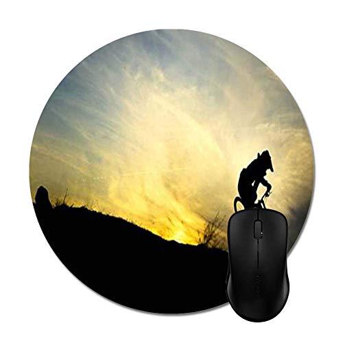 Downhill Biker Silhouette Runde Mausunterlage,Schreibtischunterlage,20CM,Gummiunterseite Maus Pad,Optimale Gleitfähigkeit Mausmatte