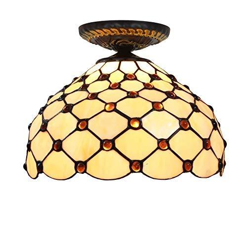 BXU-BG Tiffany Style 12 pulgadas semi empotrado montaje luces de techo Tiffany estilo gema amarilla sombra de cristal, para sala de estar lámpara de techo iluminación