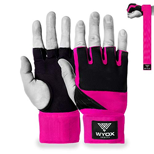 WYOX Ladies Training Boxing Inner Gloves Gel Hand Wraps MMA Fist Protector Bandage (Pink, Small)