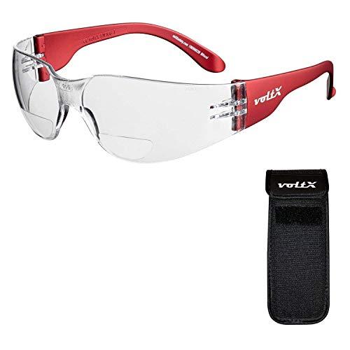voltX 'Grafter' BIFOKALE (KLAR +1.0 Dioptrie) Leichtgewichts Industrie Lesen Schutzbrille, CE EN166F Zertifiziert + Anti Fog UV400 Linse/Sportbrille für Radler – Erweiterbarer Sicherheitsbeutel
