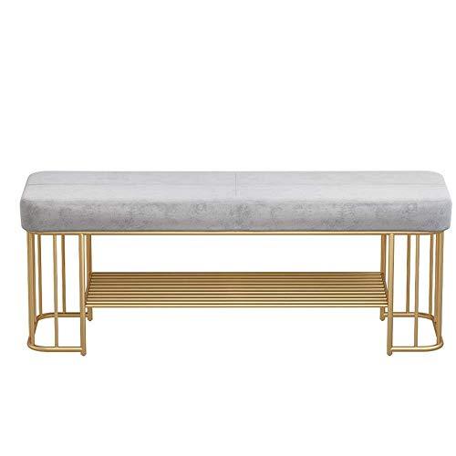 XUSHEN-HU Zapatero de 2 niveles para entrada, organizador de almacenamiento con asiento acolchado de espuma, marco de metal, para sala de estar, pasillo (color: gris, tamaño: 100 x 35 x 45 cm)
