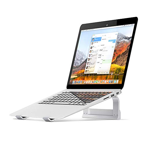 Supporto PC Portatile, Supporto per Laptop Ventilato in Alluminio con Angolo, Supporto Ergonomico per MacBook e Laptop da 11-17 Pollici - Argento