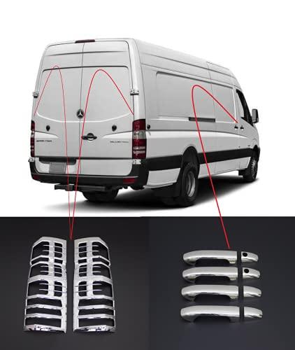 Boa Line Auto - Cubierta de llanta de lámpara trasera ABS cromado y cubierta de manija de puerta, 4 unidades, compatible con Mercedes Benz Sprinter W906 06-2017