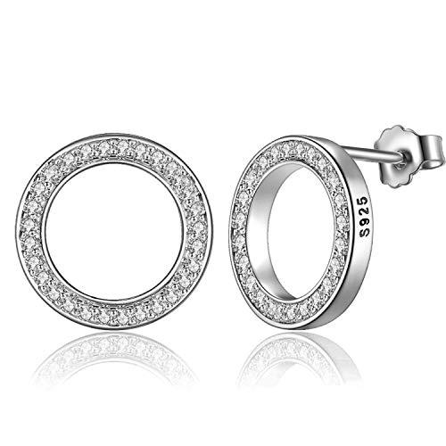 EVBEA Pendientes Mujer Plata Circulo Platino Oro Blanco Regalos Originales para Mujer